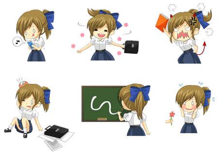 Linda estudiante de colegiala tailandesa en diversas actividades y conjunto de iconos de emoción 2, crear por vector