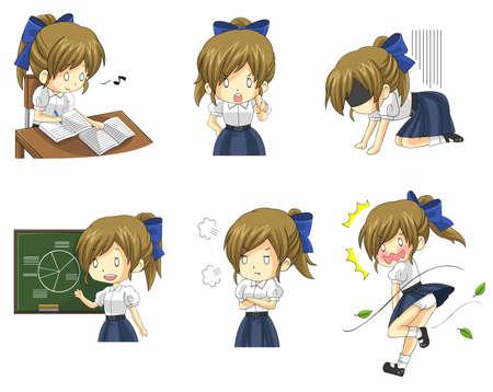 Estudiante de la colegiala tailandés lindo en diversas actividades y la emoción icono conjunto 3, crear por el vector Ilustración de vector