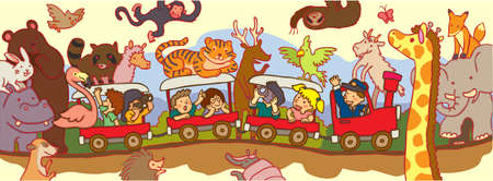 Kids travel through the wilderness safari by train, create by vector Vector
