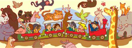 through travel: Kids travel through the wilderness safari by train, create by vector