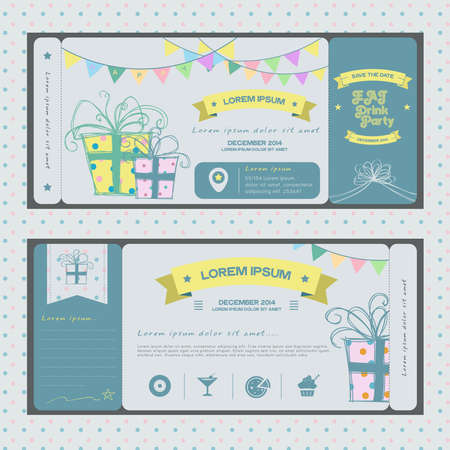 Vintage ticket for birthday party or other any kind of fun celebrartion party style 2, create by vector Vector