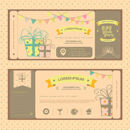 wedding reception decoration: Vintage ticket for birthday party or other any kind of fun celebrartion party, create by vector Illustration