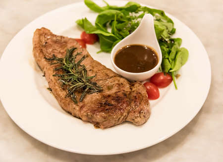 prime rib: Premium ribeye steak on a well decorated dish ready to serve