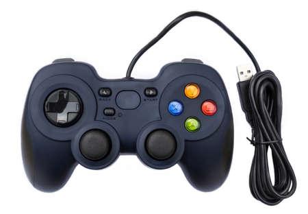 jugando videojuegos: Joystock Negro para consola de videojuegos en el fondo aislado