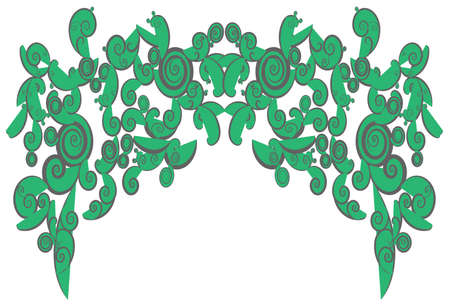 Green abstract curly shapes use for background decorations, create by vector. Vector