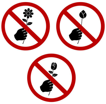 not give: Dont Pick or give the Flower Sign collection set. A red sign that tell you not to pick the flower in this area (vector)