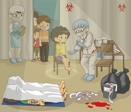 Ebola or epidemic disease is spreading harshly. Doctor is examining group of people in quarantine zone. (vector) Illustration