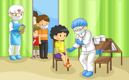 hospital cartoon: Doctor is examining group of people with ebola disease. It