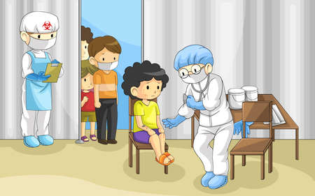 Doctor is examining group of people with ebola disease. It