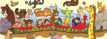 through travel: Kids travel through the wilderness safari by train  with black line drawing, create by vector Illustration