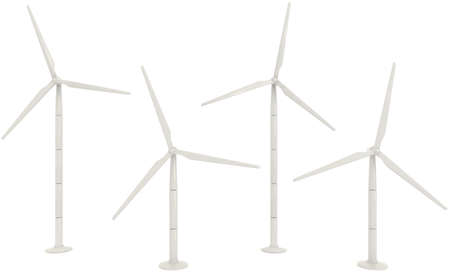 wind farm: 3D wind turbine for clean energy collection set in white background