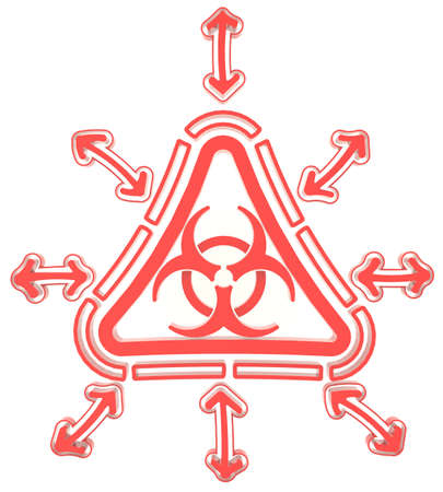 Red triangle biohazard radiation symbol in isolated background, create by 3D photo