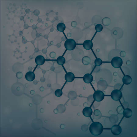Deep blue molecule bond background, create by vector photo