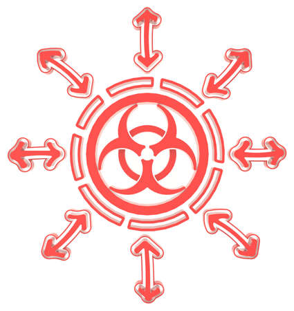 Red circle biohazard radiation symbol in isolated background, create by 3D photo