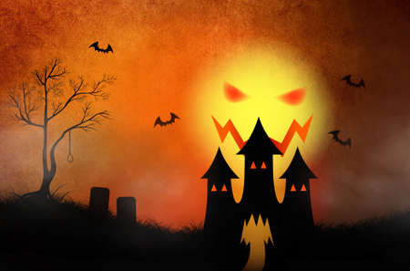 Halloween background with haunting castle and silhouette in red burning sky photo