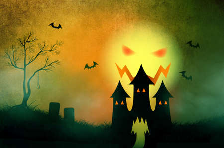 Halloween background with silhouette haunting castle in misty graveyard photo