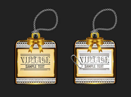 an amulet: Vintage glossy golden locket badge with chain lace design, create by vector