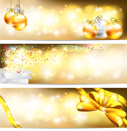 Three styles of golden celebration and sales ornament banner background Vector