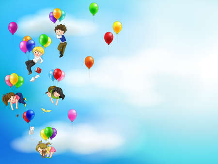 toy story: Cute cartoon people and children floating in the sky with balloons background Illustration