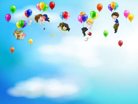 Cute cartoon people and children floating in the sky with balloons background Illustration