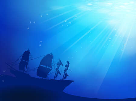 underwater light: Deep blue ocean with shipwreck as a silhouette background Illustration