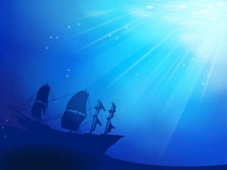 Diepe blauwe oceaan met schipbreuk als een silhouet achtergrond Vector Illustratie