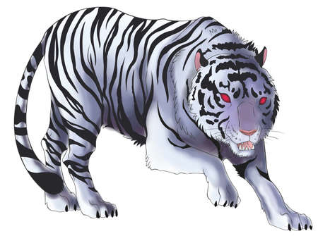 White tiger illustration in isolated background, create by vector Illustration