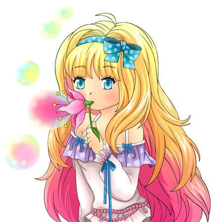 Linda chica de fantasía está soplando pompas de jabón a partir de un diseño de flores en el estilo de dibujos animados japoneses (vector)