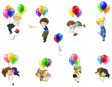 Cute cartoon people and children floating in the sky with balloons icon set, create by vector Illustration