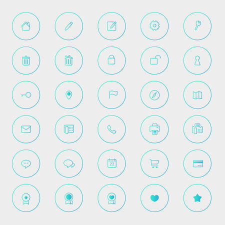 Various business and technology icon collection set 1 in blue shade version, create by vector Vector