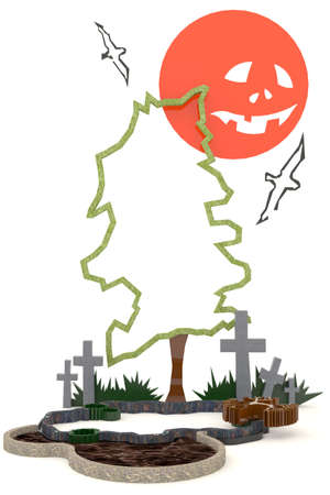 3D Halloween background decoration in haunting graveyard with Jack-o-lanterm moon photo