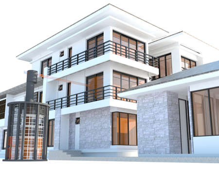 luxury hotel room: Future residential house with huge outer battery energy source in 3D design version 2