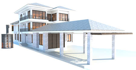 capacity: Future residential house with huge outer battery energy source in 3D design version 2