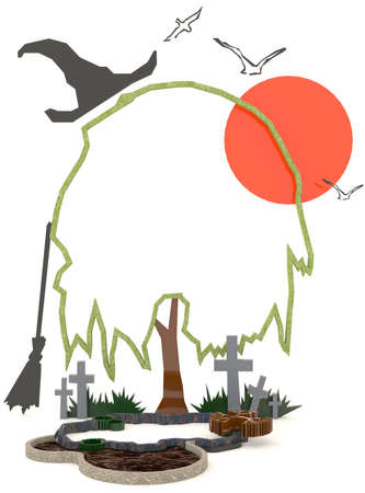 haunting: 3D Halloween background decoration in haunting graveyard