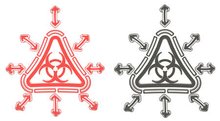 Red and black triangle biohazard radiation symbol in isolated background, create by 3D photo
