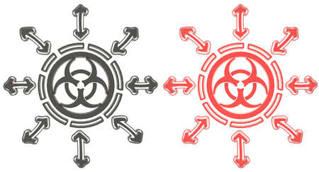 Red and black circle biohazard radiation symbol in isolated background, create by 3D photo