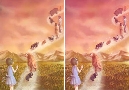 Illustration of a little girl saying goodbye to her loving pets and family which is going to heaven illustration