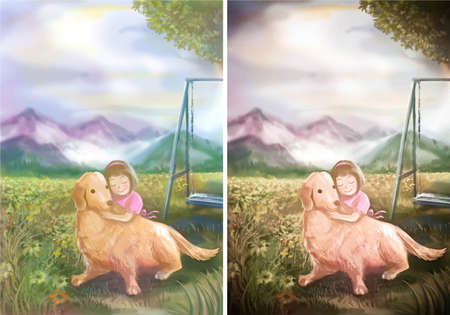 An illustration of cute girl hugging her Golden Retriever in natural playground illustration