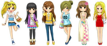 Collection de dessin animé de mode de fille moderne set 1, créer par le vecteur Vecteurs