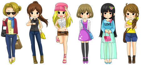 Modern girl fashion cartoon collection set 2, create by vector