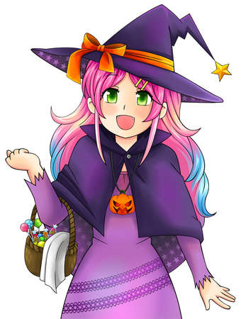 Pretty witch of Halloween in Japanese manga style in isolated background, create by vector