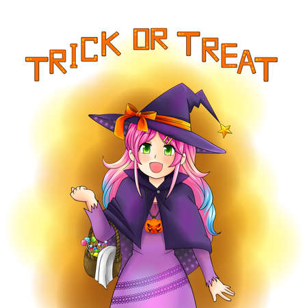 manga style: Pretty witch of Halloween in Japanese manga style with text, create by vector Illustration