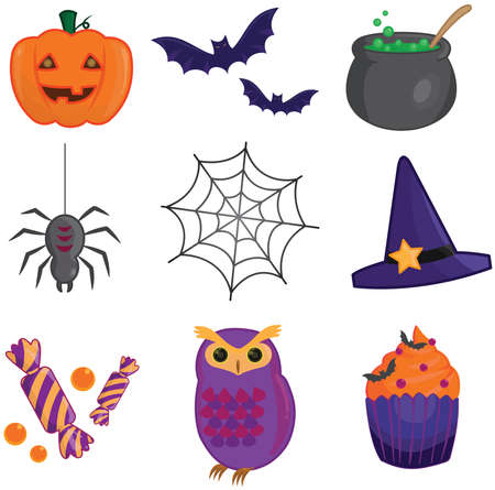 spider web icon: Halloween item collection icons, create by vector Illustration