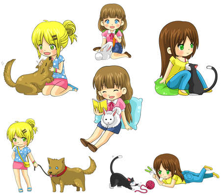 Cartoon girl with her pet icon collection set, create by vector Vector