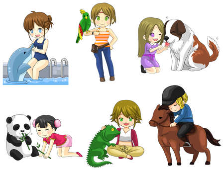 cuddle: Cartoon girl with her pet icon collection set 2, create by vector Illustration