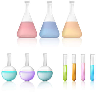 Science test tube and beaker icon set, create by vector