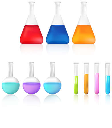 Science test tube and beaker icon set, create by vector Vector