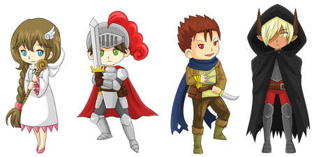 rpg: Four fantasy cartoon warriors and wizard characters set, create by vector Illustration