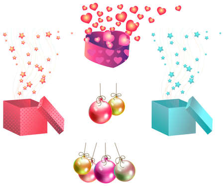 floating market: Christmas gifts and ornaments icon set, create by vector