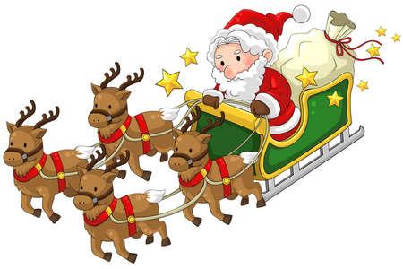 papa noel en trineo: Papá Noel en un trineo de renos en la Navidad en el fondo blanco aislado, crear por el vector